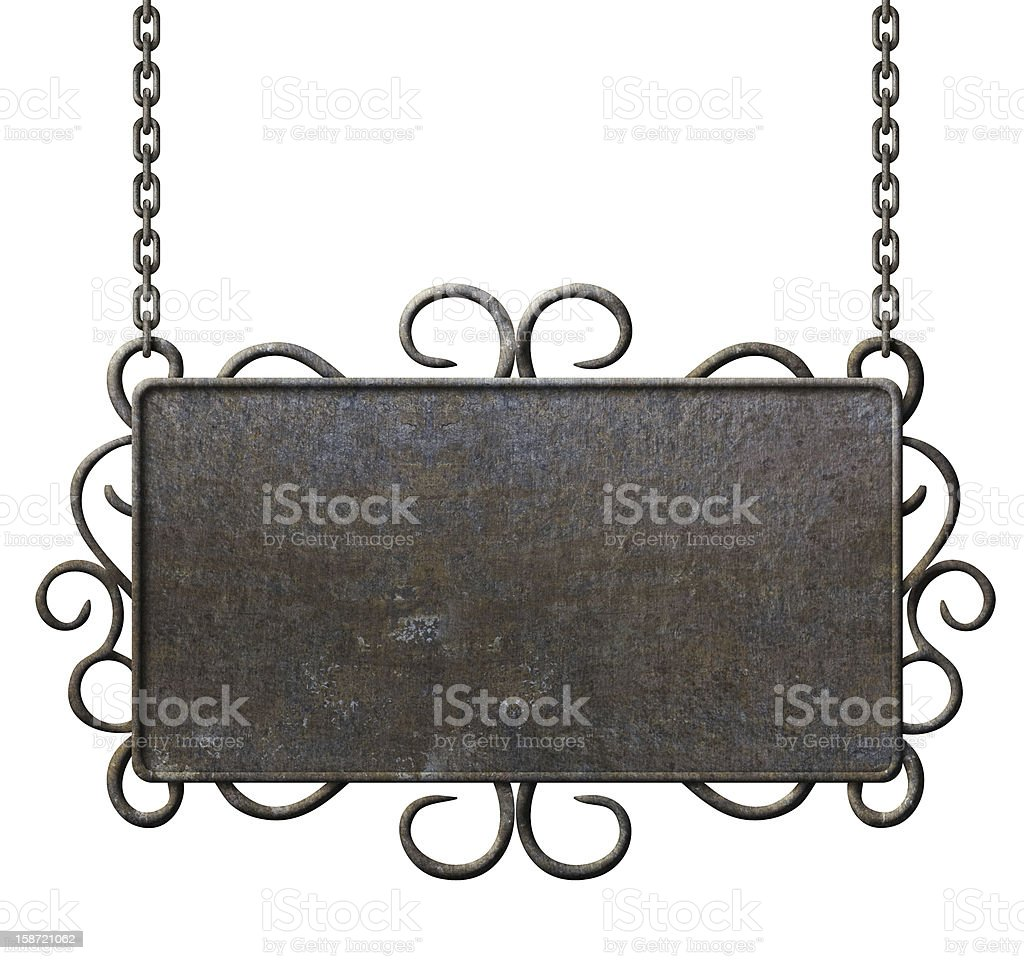 metal signboard hanging on chains isolated stock photo