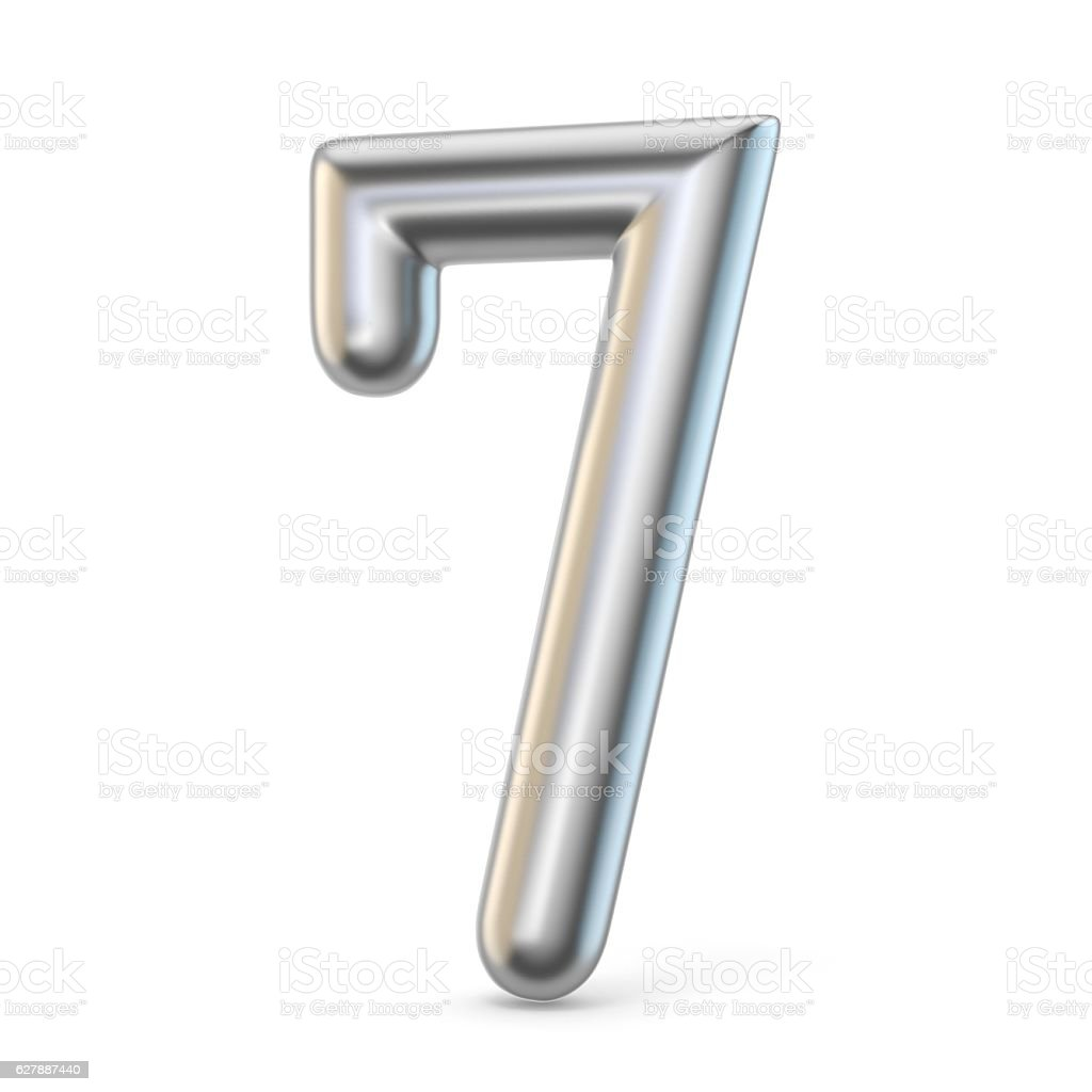 Metal silver font. Number SEVEN 7 3D stock photo