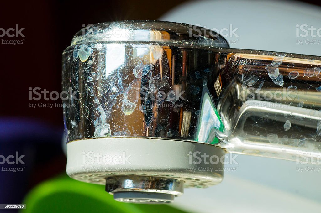 Metal sink head with calcar stains Lizenzfreies stock-foto