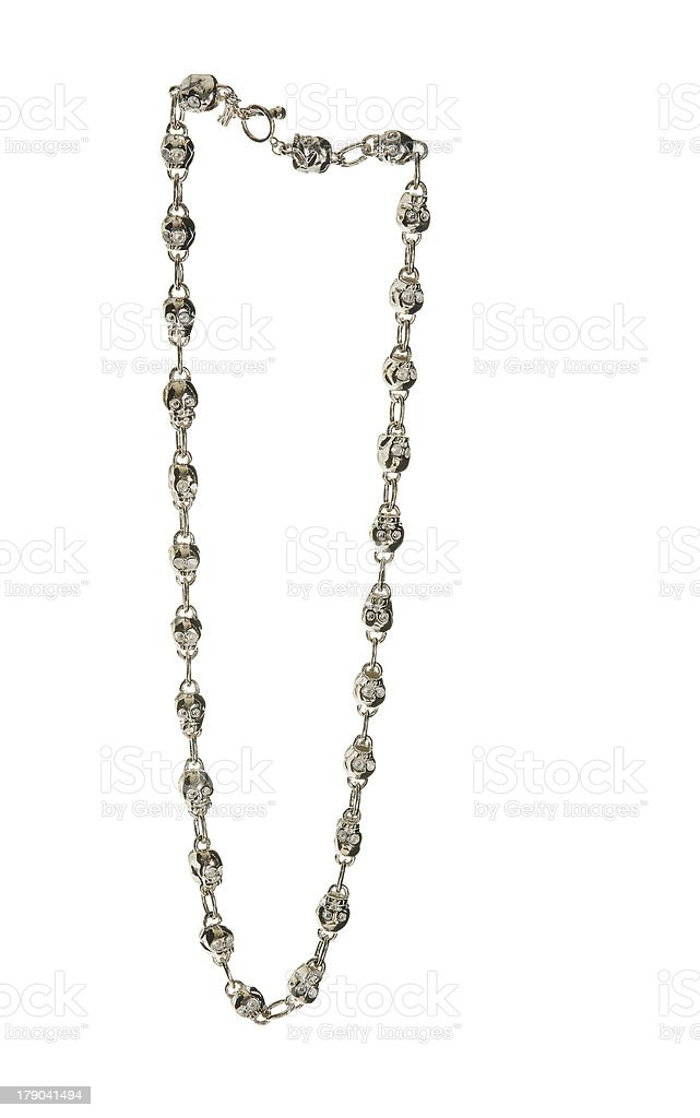 Metal skulls chain necklace stock photo
