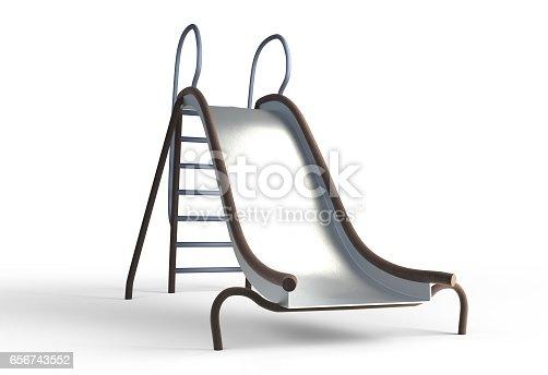istock metal slide playground for children 3d illustration 656743552