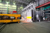 Metal smelter, open hearth furnace. Metal smelter