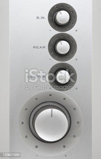 istock Metal sound control knob. 120621033