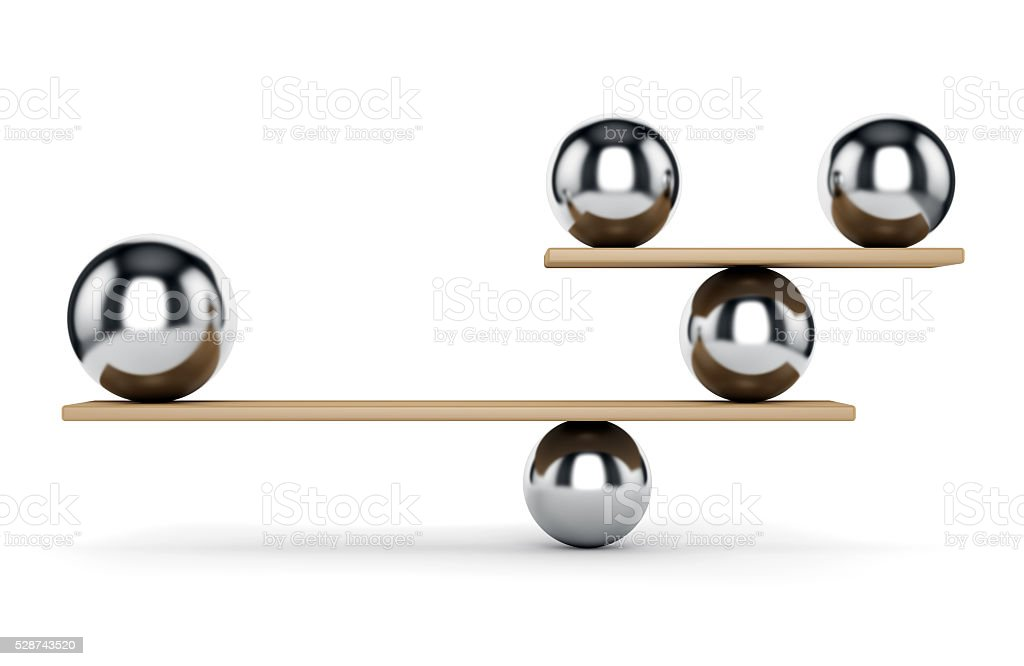 Metal spheres on scale stock photo