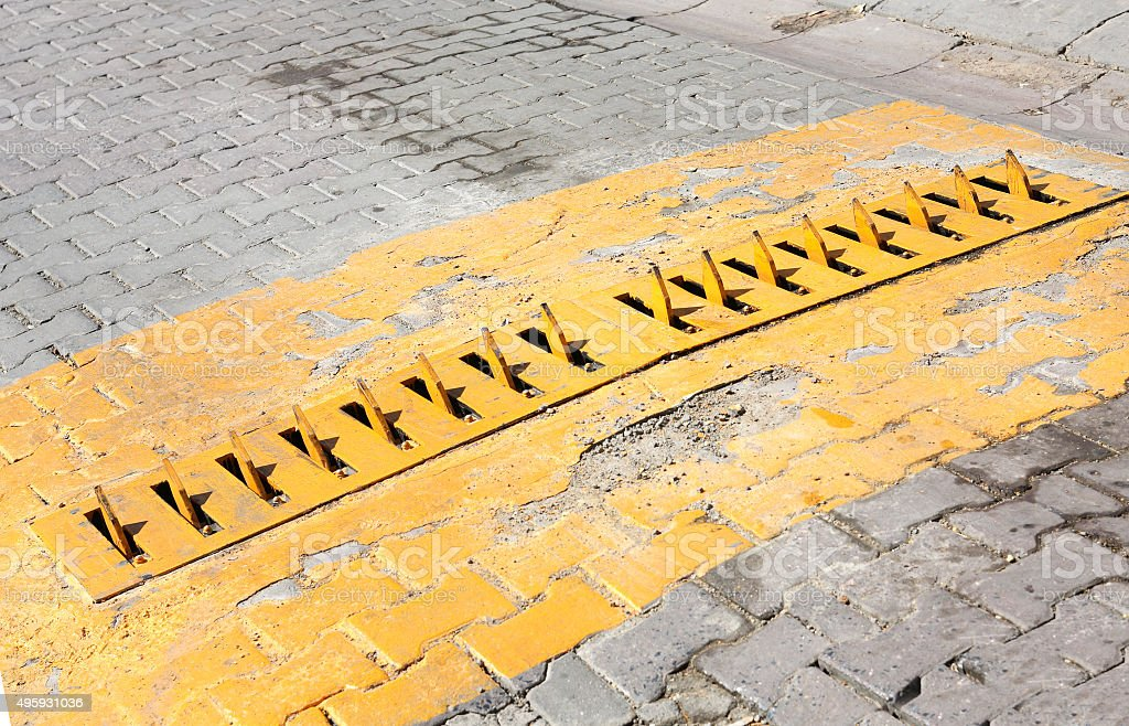 Metal Spikes On Road stock photo