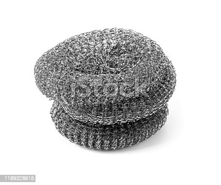 Metal sponge for washing dishes on a white background