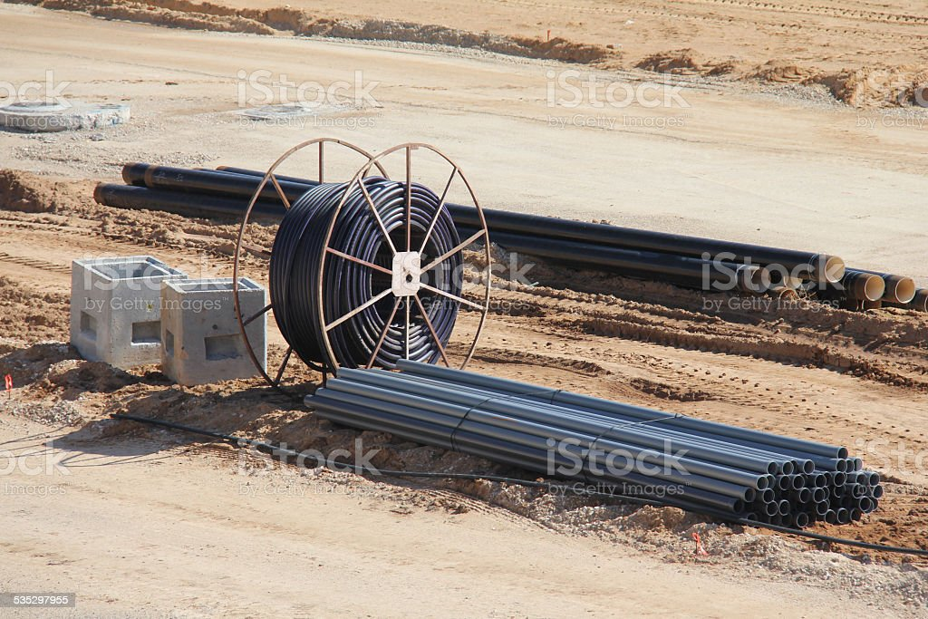 Metal spool for electric wires and pipes stock photo