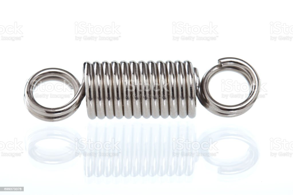 metal spring isolated on white background stock photo