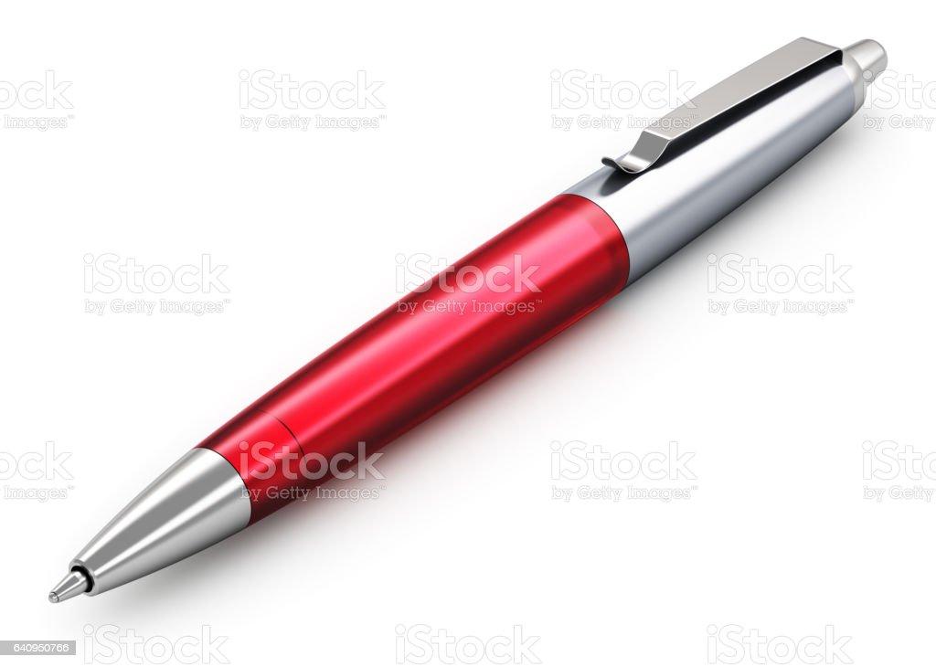 Bolígrafo de metal acero inoxidable rojo - foto de stock