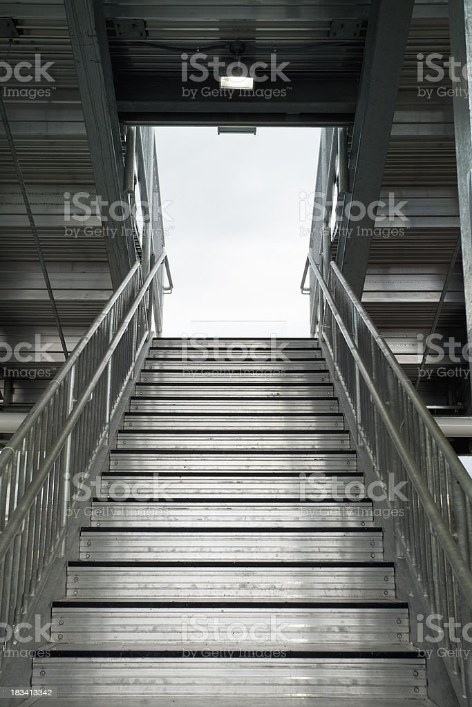 Metal stairs into a sports stadium stock photo