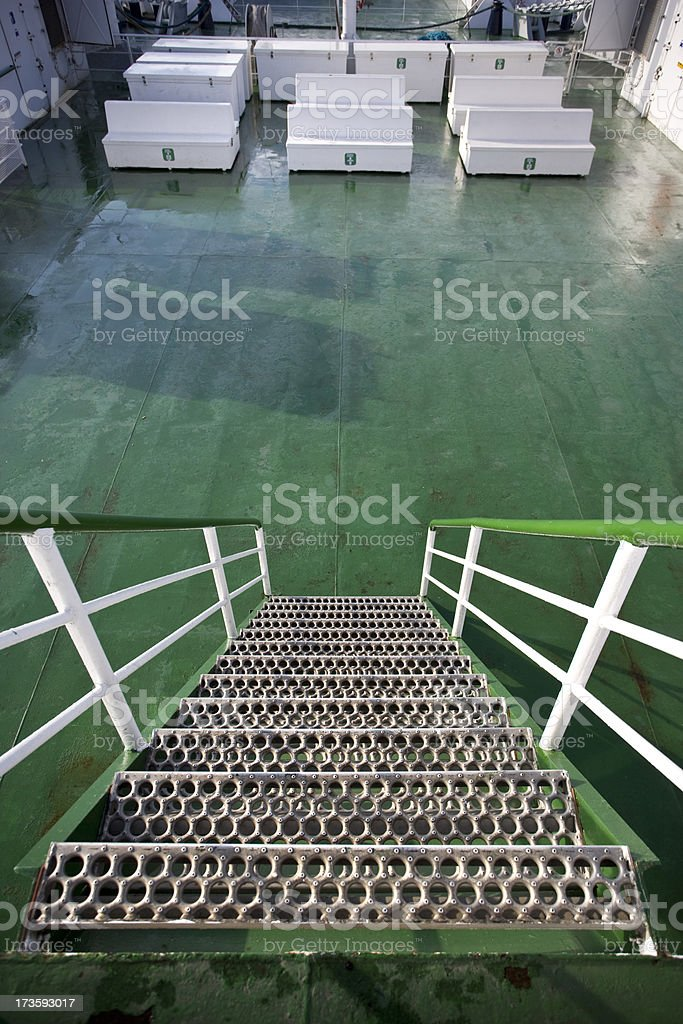 Metal stairs on a ferry royalty-free stock photo