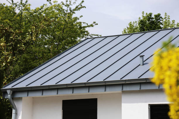 Metal standing seam roof on a residential home stock photo