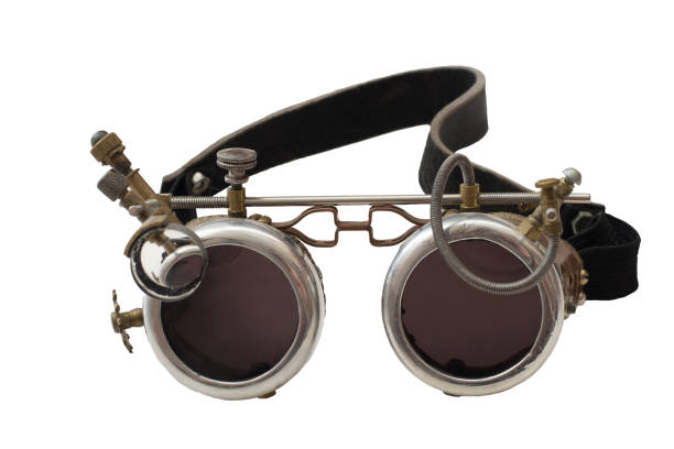 Metal steampunk glasses, goggle isolated on white background, close up stock photo