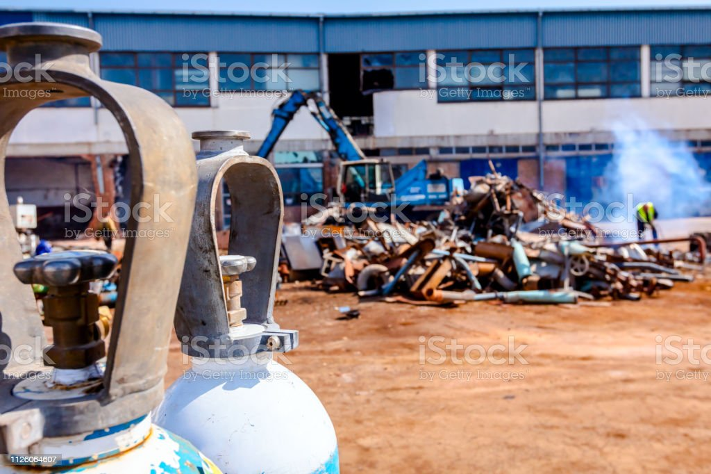 Welding gas tank, for cutting scrap metal with acetylene torch at...