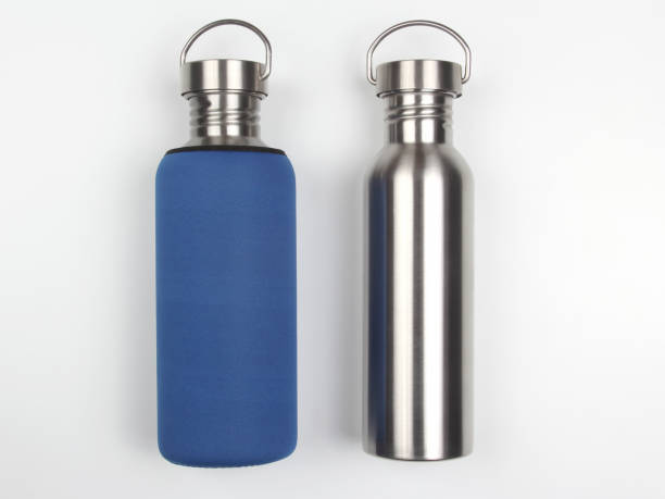 metal steel water flasks on white background stock photo