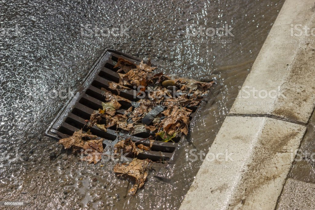 metal storm drain cover after street cleaning 2 stock photo