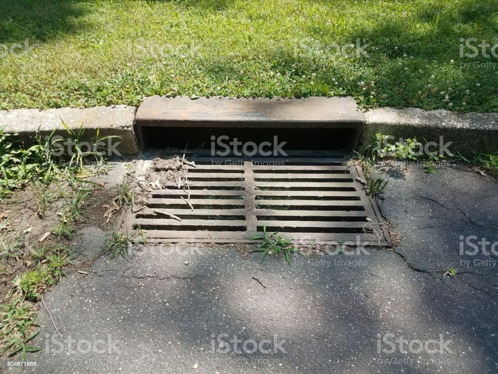 metal storm drain stock photo