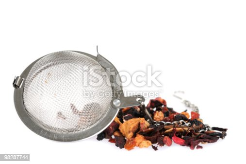Metal Strainer With Fruit Tea Stock Photo & More Pictures of Black Color