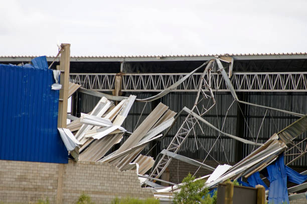 Metal structure destroyed after a storm stock photo