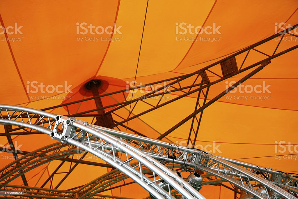 Metal structure of an orange big top royalty-free stock photo