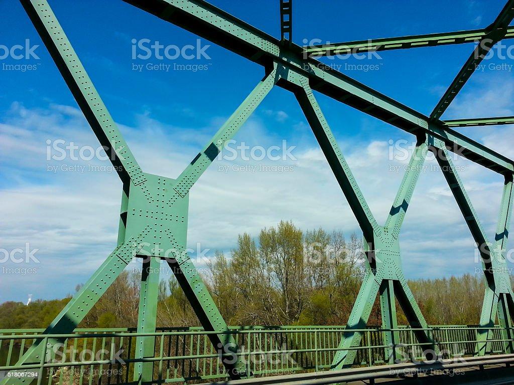 Metal structure of bridge. stock photo