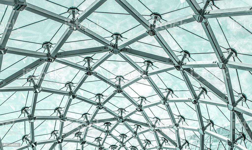 Metal Structure of Modern Glass Roof stock photo