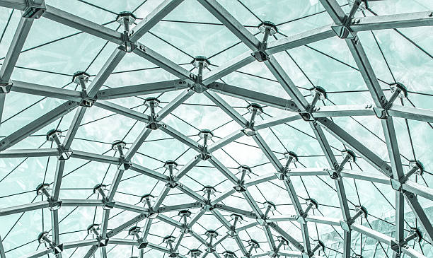 Metal Structure of Modern Glass Roof Metal Structure of Modern Glass Roof cupola stock pictures, royalty-free photos & images