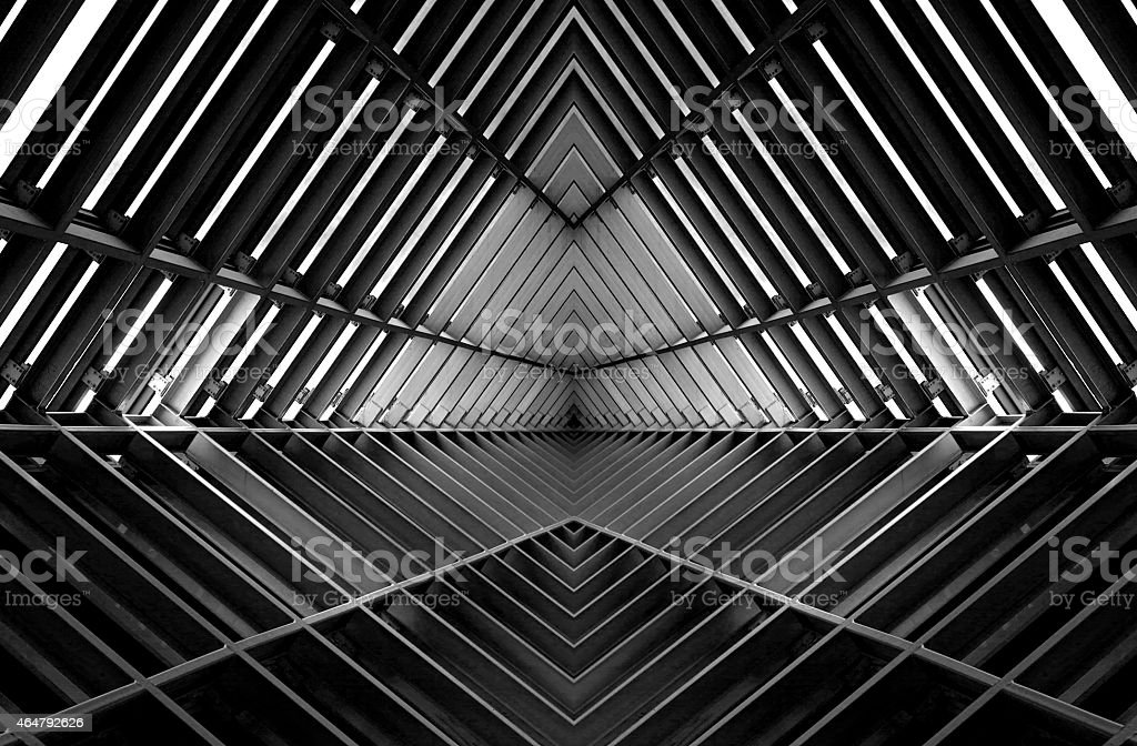 metal structure similar to spaceship interior in black and white stock photo