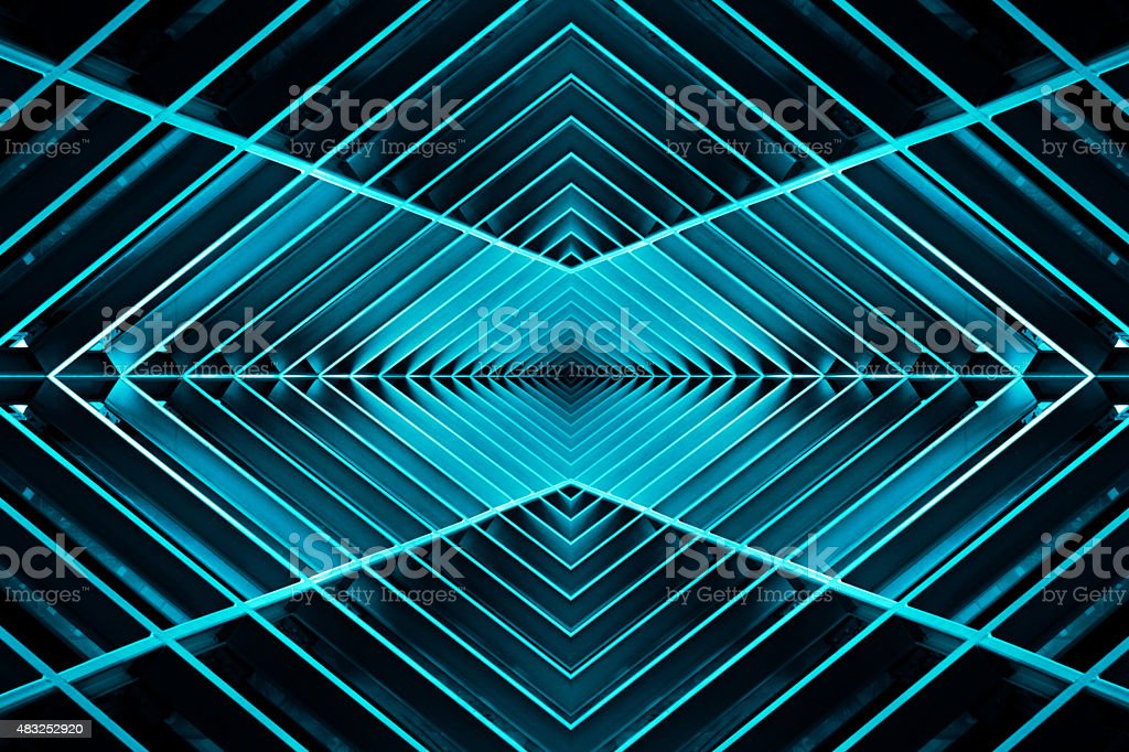 metal structure similar to spaceship interior in the blue light stock photo