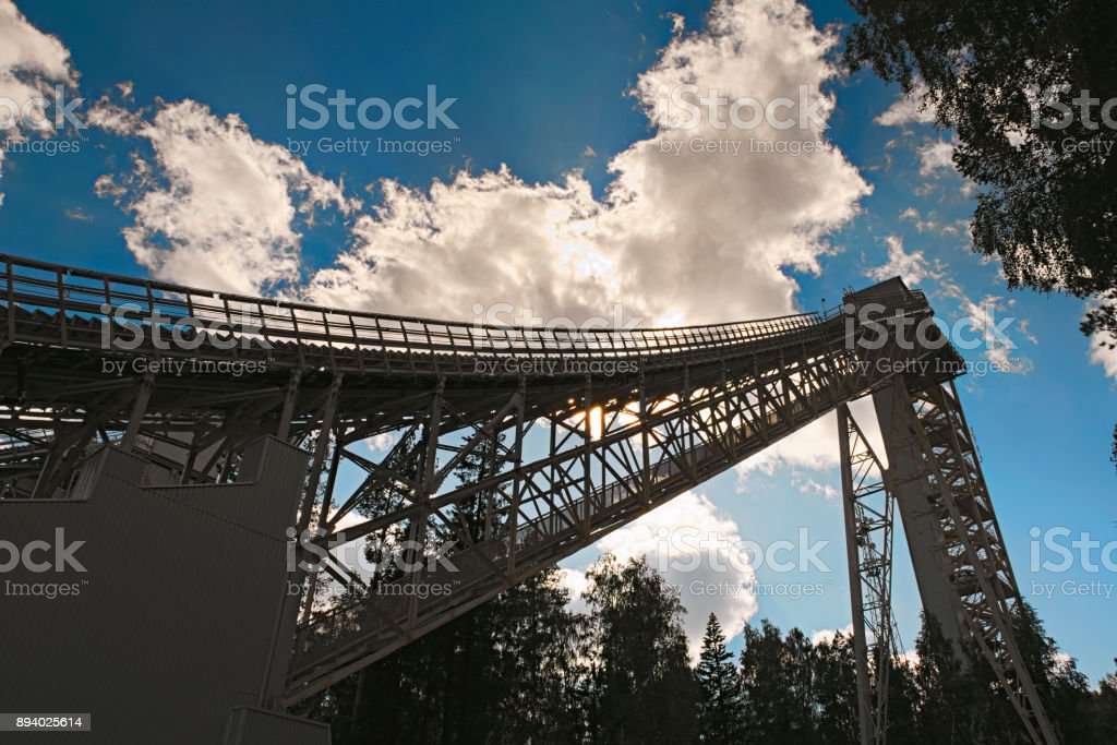 Metal structures of a large ski jumping stock photo