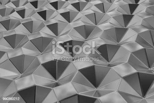537816275 istock photo Metal surface of steel octagons. Perspective view. Abstract background 990360212