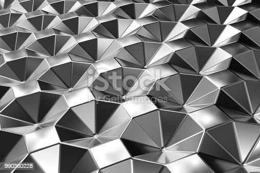 537816275 istock photo Metal surface of steel octagons. Perspective view. Shiny abstract background 990360228