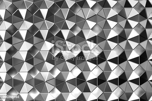 537816275 istock photo Metal surface of steel octagons. Top view. Shiny abstract background 990366164