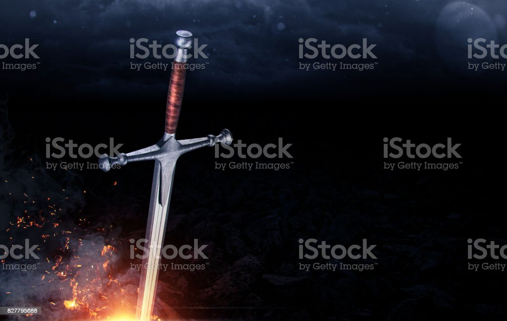 Metal sword on a dark background with clouds. 3d render stock photo