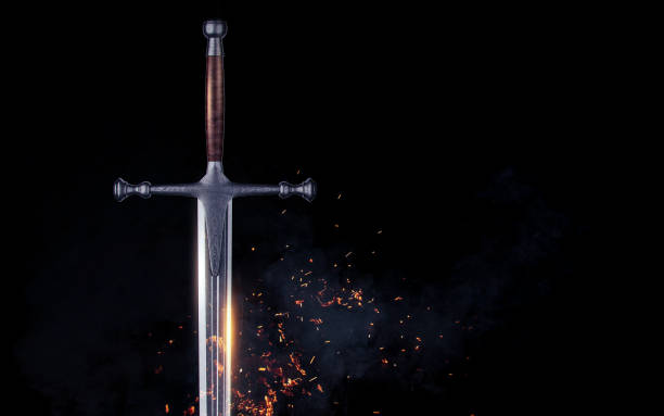 metal sword on a dark background with clouds. 3d render - periodo medievale foto e immagini stock