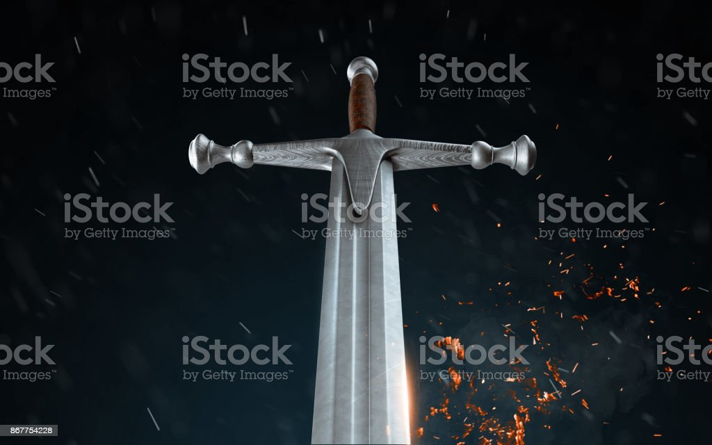 Metal sword on a dark background with snow. 3d render stock photo