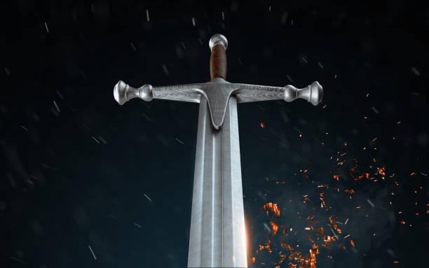 metal sword on a dark background with snow. 3d render - sword zdjęcia i obrazy z banku zdjęć