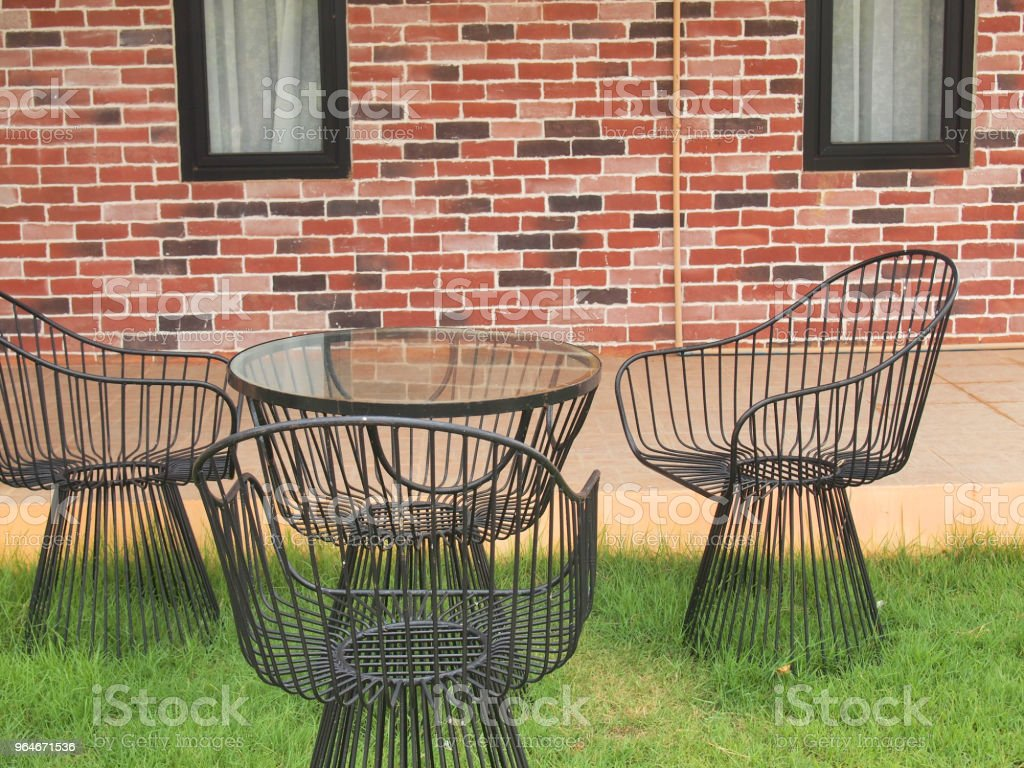 metal table and chairs royalty-free stock photo
