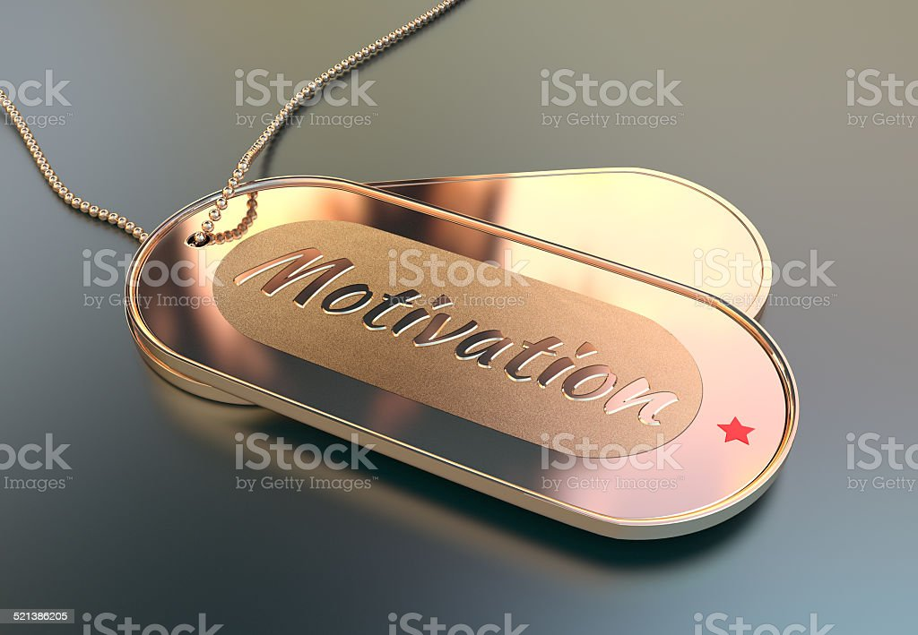 Metal tags with the word Motivation stock photo