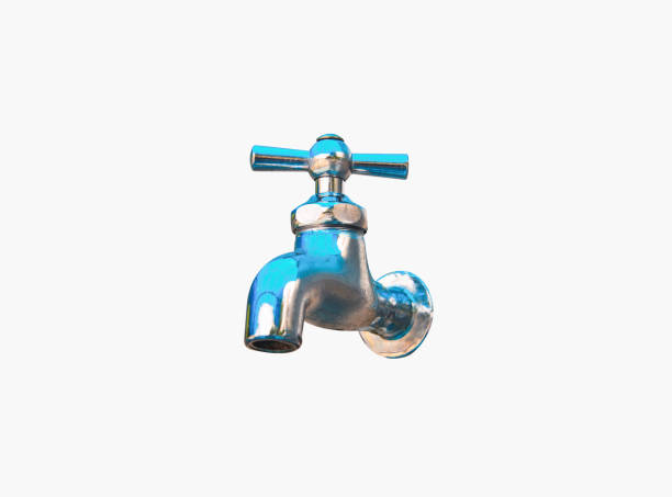 Metal tap isolated on white, saving water concept stock photo