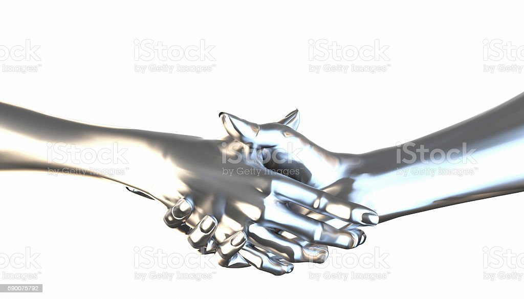 Metal textured hankshake isolated stock photo