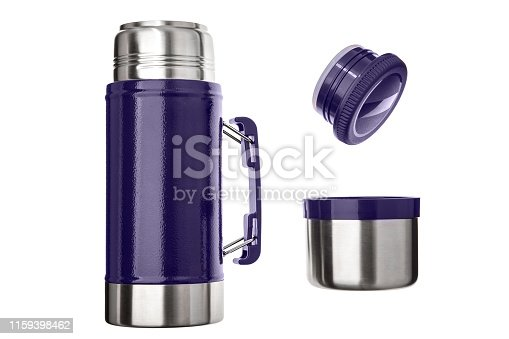 1135476970istockphoto Metal thermos close up, isolate on a white background. Thermos bottle metal on white background isolation. 1159398462