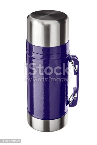 1135476970istockphoto Metal thermos close up, isolate on a white background. Thermos bottle metal on white background isolation. 1159398579