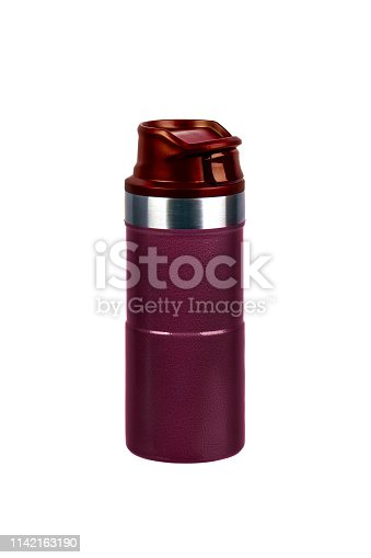 1135476970istockphoto Metal thermos isolated on white background. Front view of the thermo flask isolated on white. 1142163190