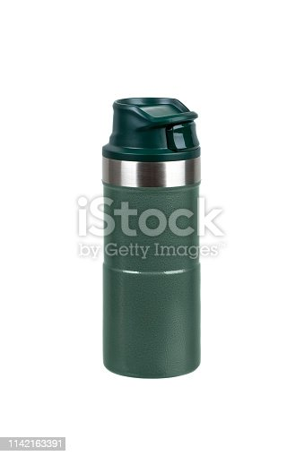 1135476970istockphoto Metal thermos isolated on white background. Front view of the thermo flask isolated on white. 1142163391