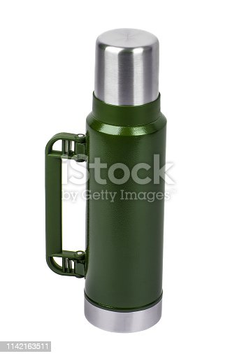1135476970istockphoto Metal thermos isolated on white background. Front view of the thermo flask isolated on white. 1142163511