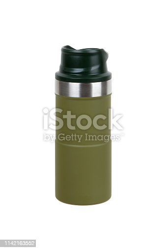 1135476970istockphoto Metal thermos isolated on white background. Front view of the thermo flask isolated on white. 1142163552