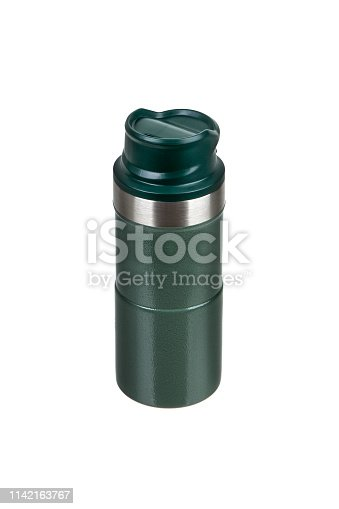 1135476970istockphoto Metal thermos isolated on white background. Front view of the thermo flask isolated on white. 1142163767