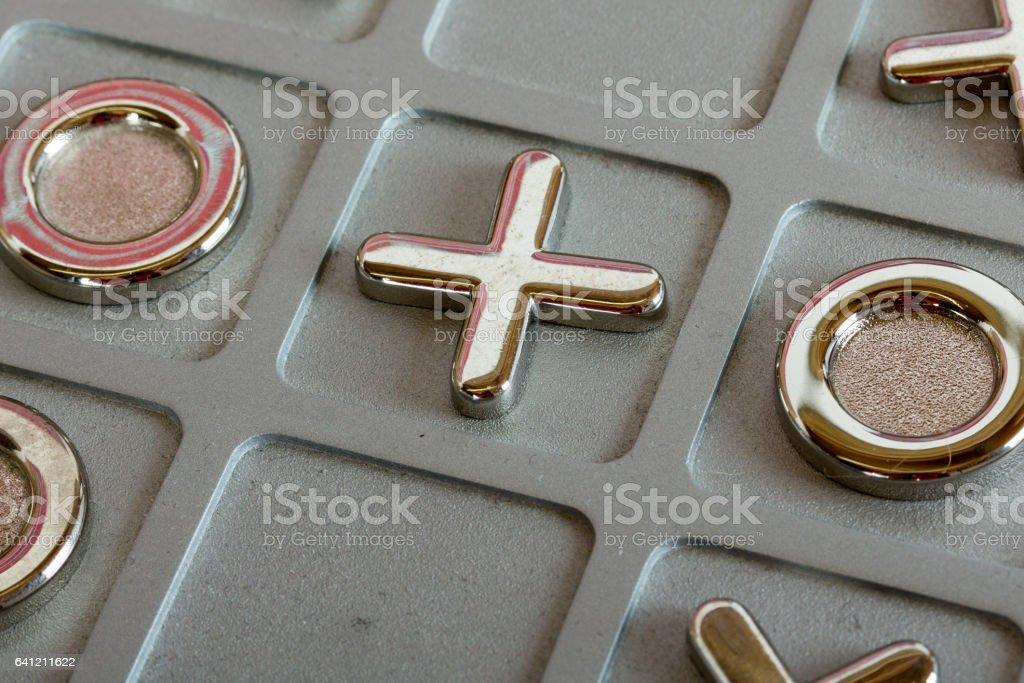 metal tic tac toe board stock photo