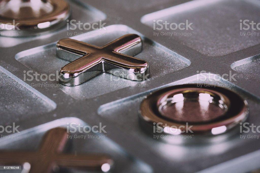 metal tic tac toe board Vintage Retro Filter. stock photo